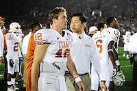 Jan 7, 2010; Pasadena, CA, USA; Texas Longhorns quarterback Colt McCoy (12) walks on the sideline during the third quarter of the 2010 BCS national championship game at the Rose Bowl.  Mandatory Credit: Mark J. Rebilas-