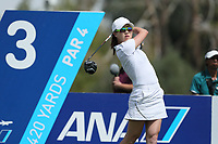 Jennifer Song watches her drive off of the 3rd tee during Round 3 at the ANA Inspiration, Mission Hills Country Club, Rancho Mirage, Calafornia, USA. {03/31/2018}.<br />