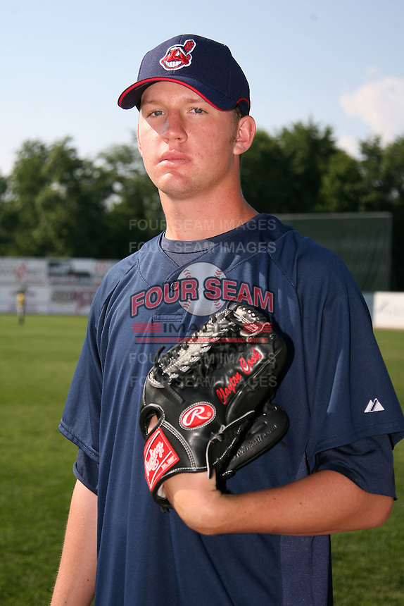 June 24, 2009:  Pitcher Clayton Cook (33) of the Mahoning Valley Scrappers poses for a photo wearing the Indians uniform before a game at Eastwood Field in Niles, OH.  The Mahoning Valley Scrappers are the NY-Penn League Short Season Class-A affiliate of the Cleveland Indians.  Photo by:  Mike Janes/Four Seam Images