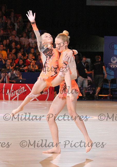 Gymnasts performing at half time in the Team New Zealand against Team England in the Netball Semi Final for the 20th Commonwealth Games, Glasgow 2014 at the Scottish Exhibition and Conference Centre, Glasgow on 2.8.14.
