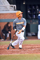 Tennessee Volunteers catcher Benito Santiago (31) swings at a pitch during a game against the University of North Carolina Greensboro (UNCG) Spartans at Lindsey Nelson Stadium on February 24, 2018 in Knoxville, Tennessee. The Volunteers defeated Spartans 11-4. (Tony Farlow/Four Seam Images)