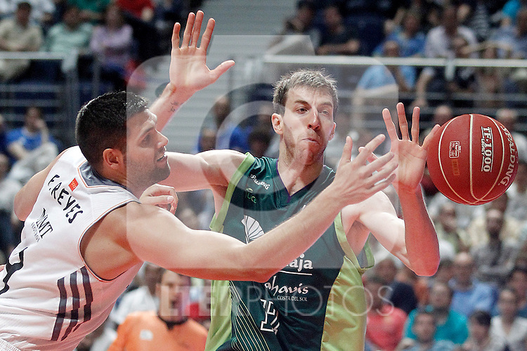 Real Madrid's Felipe Reyes (l) and Unicaja's Fran Vazquez during Liga Endesa ACB Semifinal match.June 6,2014. (ALTERPHOTOS/Acero)