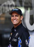 Jun 20, 2015; Bristol, TN, USA; NHRA top fuel driver Larry Dixon during qualifying for the Thunder Valley Nationals at Bristol Dragway. Mandatory Credit: Mark J. Rebilas-