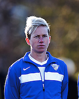 Boston Breakers midfielder Joanna Lohman (11). In a National Women's Soccer League Elite (NWSL) match, the Boston Breakers (blue) tied the Washington Spirit (white), 1-1, at Dilboy Stadium on April 14, 2012.