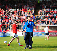 Lincoln City manager Danny Cowley acknowledges the Lincoln City fans during the pre-match warm-up<br /> <br /> Photographer Andrew Vaughan/CameraSport<br /> <br /> The EFL Sky Bet League Two Play Off Second Leg - Exeter City v Lincoln City - Thursday 17th May 2018 - St James Park - Exeter<br /> <br /> World Copyright &copy; 2018 CameraSport. All rights reserved. 43 Linden Ave. Countesthorpe. Leicester. England. LE8 5PG - Tel: +44 (0) 116 277 4147 - admin@camerasport.com - www.camerasport.com