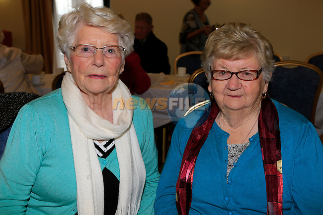 Kathleen Meade and Masie Smith at the coffee morning in the Drogheda community service centre.<br /> Picture: Fran Caffrey www.newsfile.ie