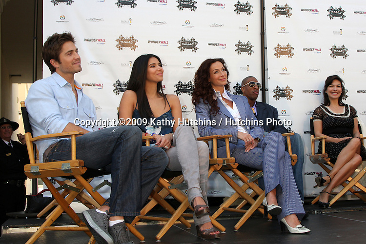 "Eric Winter & Roselyn Sanchez, Sofia Milos & Laura Harring   at the kickoff Press Conference for ""The Rally for Kids with Cancer Scavenger Cup""  at the Americana in Glendale, CA  on March 31, 2009.©2009 Kathy Hutchins / Hutchins Photo....                ."