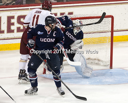 Derek Pratt (UConn - 2), Chris Calnan (BC - 11), Rob Nichols (UConn - 31) - The Boston College Eagles defeated the visiting UConn Huskies 2-1 on Tuesday, January 24, 2017, at Kelley Rink in Conte Forum in Chestnut Hill, Massachusetts.
