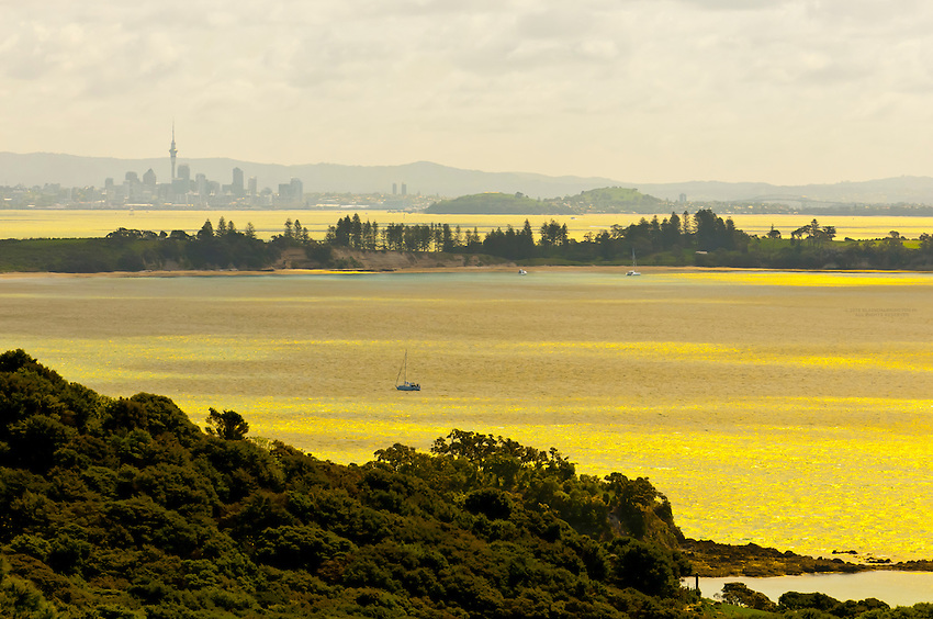 Looking from Waiheke Island across the Hauraki Gulf to the skyline of Auckland, New Zealand