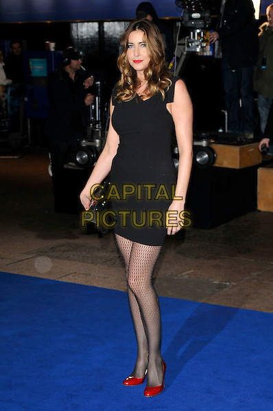 """LISA SNOWDON .Arrivals - World Premiere of """"Avatar"""",  Odeon Leicester Square, London, England, UK, December 10th, 2009..full length black dress clutch bag tights red shoes pattern patterned gold studded studs sleeveless.CAP/PL.©Phil Loftus/Capital Pictures."""