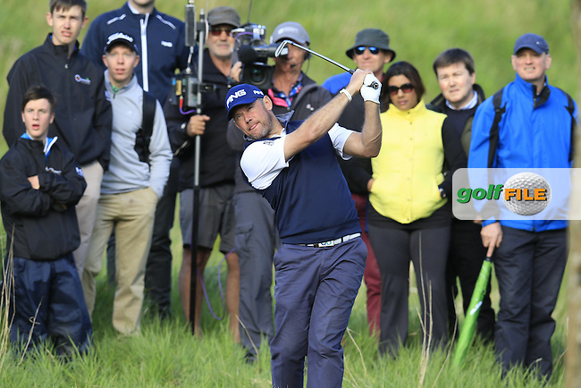 Lee Westwood (ENG) plays his 2nd shot from the rough on the 17th hole during Thursday's Round 1 of the 2016 Dubai Duty Free Irish Open hosted by Rory Foundation held at the K Club, Straffan, Co.Kildare, Ireland. 19th May 2016.<br /> Picture: Eoin Clarke | Golffile<br /> <br /> <br /> All photos usage must carry mandatory copyright credit (&copy; Golffile | Eoin Clarke)