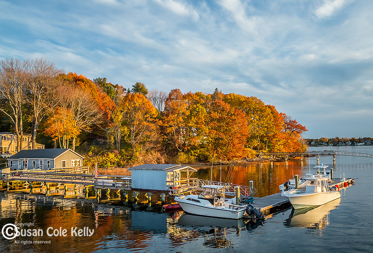 Sunset on Peperell Cove in Kittery, Maine, USA