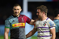 Mike Brown of Harlequins with George Ford of Leicester Tigers after the match. Gallagher Premiership match, between Harlequins and Leicester Tigers on May 3, 2019 at the Twickenham Stoop in London, England. Photo by: Patrick Khachfe / JMP