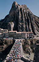 peloton leaving Sisteron<br /> <br /> 76th Paris-Nice 2018<br /> stage 6: Sisteron &gt; Vence (198km)