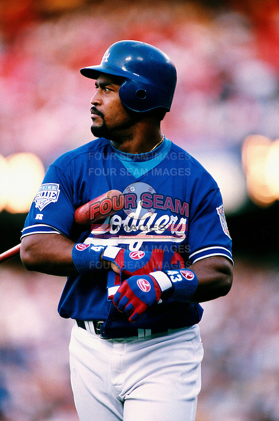 Raul Mondesi of the Los Angeles Dodgers participates in a Major League Baseball game at Dodger Stadium during the 1998 season in Los Angeles, California. (Larry Goren/Four Seam Images)