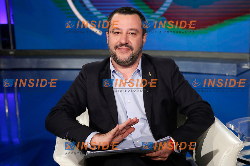Matteo Salvini <br /> Rome January 10th 2019. The Italian Minister of Internal Affairs appears as a guest on the tv show Porta a Porta<br /> Foto Samantha Zucchi Insidefoto