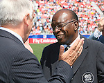 22 July 2007: CONCACAF President Jack Warner (r) and Canadian Soccer Association President Colin Linford (l) share a light moment before the game. At the National Soccer Stadium, also known as BMO Field, in Toronto, Ontario, Canada. Argentina's Under-20 Men's National Team defeated the Czech Republic's Under-20 Men's National Team 2-1 in the championship match of the FIFA U-20 World Cup Canada 2007 tournament.