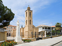 CYPRUS, capital Nicosia (Lefkosia): Agios Ioannis Cathedral (17th century) at Archibishop Kiprianós Square, next to the Museum of Folk Art (Old Archbishopric Palace). Left statue of Archbishop Kiprianós<br />