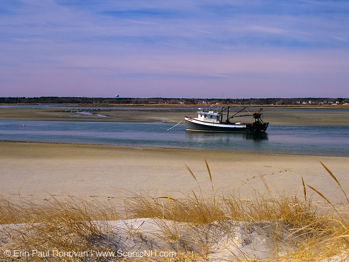 Fishing boat achored in Hampton Harbor in Seabrook, New Hampshire USA.