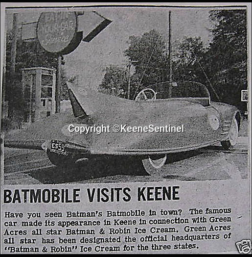BNPS.co.uk (01202 558833)<br /> Pic: KeeneSentinel/BNPS<br /> <br /> ***Please Use Full Byline***<br /> <br /> A paper cutting  of when the Batmobile went to Keene.<br /> <br /> The world's first Batmobile has emerged for sale for a whopping &pound;300,000 after being rescued from a field where it spent almost 50 years languishing.<br /> <br /> Batman's famous car was built more than 50 years ago from a 1956 Oldsmobile 88 that was converted to look just like the one from the comic books which made the Caped Crusader famous.<br /> <br /> It is a far cry from the Batmobile that appeared in Christopher Nolan's modern remakes of Batman.<br /> <br /> But as the first Batmobile ever built, experts at Dallas-based Heritage Auctions say it could sell for as much as $500,000 - more than &pound;300,000.