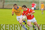 East Kerry's D. J. O'Connor and Feale Rangers Paudie Galvin.