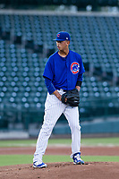 AZL Cubs starting pitcher Brailyn Marquez (58) prepares to deliver a pitch to the plate against the AZL Giants on July 17, 2017 at Sloan Park in Mesa, Arizona. AZL Giants defeated the AZL Cubs 12-7. (Zachary Lucy/Four Seam Images)