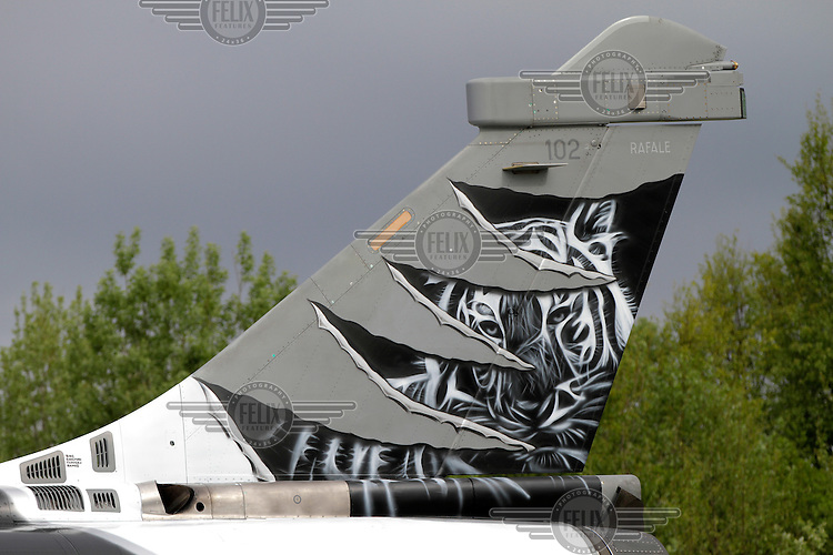 A French Dassault Rafale fighter jet with tiger paint scheme. Nato Tiger Meet is an annual gathering of squadrons using the tiger as their mascot. While originally mostly a social event it is now a full military exercise. Tiger Meet 2012 was held at the Norwegian air base Ørlandet.