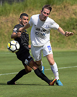 Action from the ISPS Handa Premiership football match between Team Wellington and Hamilton Wanderers at David Farrington Park in Wellington, New Zealand on Sunday, 18 March 2018. Photo: Dave Lintott / lintottphoto.co.nz