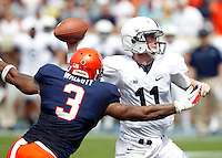 Virginia defensive end Ausar Walcott (3) puts pressure on Penn State quarterback Matthew McGloin (11) during an NCAA college football game in Charlottesville, Va. Virginia defeated Penn State 17-16.