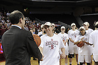 March 14, 2010.  Jeanette Pohlen receives her game ball after the Stanford Cardinal beat the UCLA Bruins to win the 2010 Pac-10 Tournament.