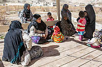 Some women of the nearby village are coming to have a chat with the women rangers of the park, Band-e Amir, Afghanistan, 10th November 2017.<br /> <br /> Des femmes du village le plus proche du parc viennent discuter avec les femmes rangers, Band-e Amir, Afghanistan, 10 novembre 2017.
