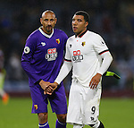 Troy Deeney of Watford and Heurelho Gomes of Watford during the Premier League match at Turf Moor Stadium, Burnley. Picture date: September 26th, 2016. Pic Simon Bellis/Sportimage