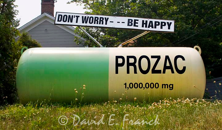 Giant Prozac Pill painted propane tank in Milan NY