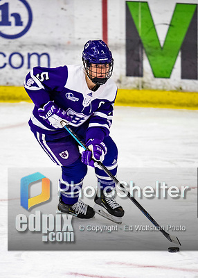 2 February 2020: Holy CrossCrusader Defender Hannah Gillis, a Senior from Northborough, MA, in third period action against the University of Vermont Catamounts at Gutterson Fieldhouse in Burlington, Vermont. The Lady Cats rallied in the 3rd period to tie the Crusaders 2-2 in NCAA Women's Hockey East play. Mandatory Credit: Ed Wolfstein Photo *** RAW (NEF) Image File Available ***