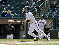 April 11, 2004:  First baseman Justin Morneau (33) of the Rochester Red Wings, Triple-A International League affiliate of the Minnesota Twins, during a game at Frontier Field in Rochester, NY.  Photo by:  Mike Janes/Four Seam Images