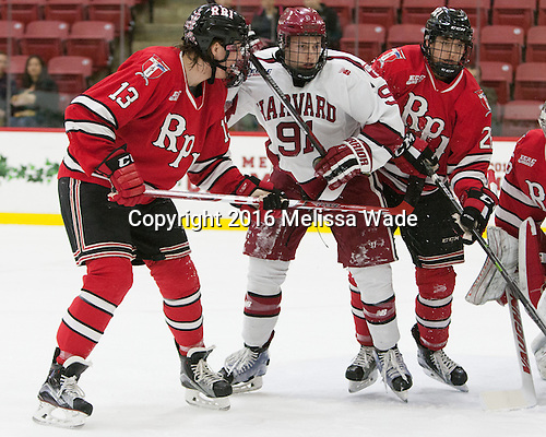 Jared Wilson (RPI - 13), Jake Horton (Harvard - 91), Jesper Öhrvall (RPI - 28) - The Harvard University Crimson defeated the visiting Rensselaer Polytechnic Institute Engineers 5-2 in game 1 of their ECAC quarterfinal series on Friday, March 11, 2016, at Bright-Landry Hockey Center in Boston, Massachusetts.