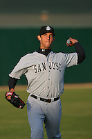 April 28 2009: Madison Bumgarner of the San Jose Giants before the Lancaster JetHawks at Clear Channel Stadium in Lancaster,CA.  Photo by Larry Goren/Four Seam Images