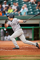 Jackson Generals first baseman Josh Prince (8) follows through on a swing during a game against the Chattanooga Lookouts on May 9, 2018 at AT&T Field in Chattanooga, Tennessee.  Chattanooga defeated Jackson 4-2.  (Mike Janes/Four Seam Images)