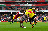 Watford's Richarlison in action <br /> <br /> Photographer Craig Mercer/CameraSport<br /> <br /> The Premier League - Sunday 11th March 2018 - Arsenal v Watford - The Emirates - London<br /> <br /> World Copyright &copy; 2018 CameraSport. All rights reserved. 43 Linden Ave. Countesthorpe. Leicester. England. LE8 5PG - Tel: +44 (0) 116 277 4147 - admin@camerasport.com - www.camerasport.com