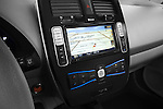Stereo audio system close up detail view of a 2011 Nissan Leaf SL