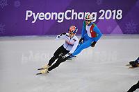 OLYMPIC GAMES: PYEONGCHANG: 17-02-2018, Gangneung Ice Arena, Short Track, 1000m Men, Lim Hyo Jun (KOR), Yuri Confortola (ITA), ©photo Martin de Jong