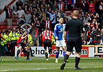 Billy Sharp of Sheffield Utd celebrates his goal with Samir Carruthers of Sheffield Utd  during the English League One match at  Bramall Lane Stadium, Sheffield. Picture date: April 30th 2017. Pic credit should read: Simon Bellis/Sportimage