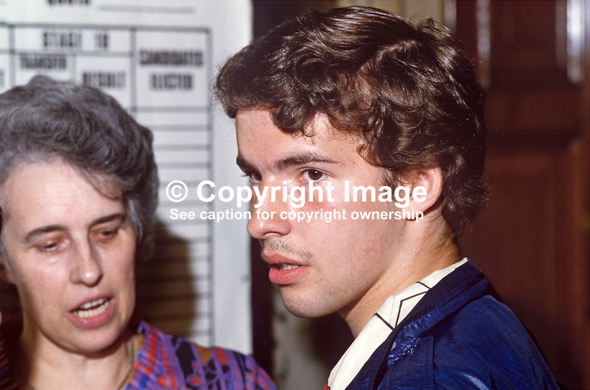 Kyle Paisley, son of Rev Ian Paisley, at the N Ireland count of the 1984 European Election, in which his father topped the poll. Kyle went on to become a Free Presbyterian Church minister like his father. His mother, Eileen Paisley, is also in the photo. 19840083KP1.<br />