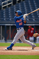 GCL Mets Kenedy Corona (22) at bat during a Gulf Coast League game against the GCL Nationals on August 12, 2019 at FITTEAM Ballpark of the Palm Beaches in Palm Beach, Florida.  GCL Nationals defeated the GCL Mets 7-3.  (Mike Janes/Four Seam Images)