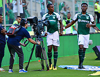 PALMASECA-COLOMBIA,09 -09-2018.Ezequiel Palomeque jugador del Deportivo Cali celebra su gol contra  Equidad durante partido por la fecha 9 de la Liga Águila II 2018 jugado en el estadio Deportivo Cali de la ciudad de Palmira./ Ezequiel Palomeque player of Deportivo Cali  celebrates his goal agaisnt  of Equidad during the match for the date 9 of the Aguila League II 2018 played at Alfonso Lopez  stadium in Palmaseca city. Photo: VizzorImage/ Nelson Rios / Contribuidor