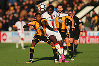 Jevani Brown of Cambridge and Craig Dundas of Sutton during Cambridge United vs Sutton United , Emirates FA Cup Football at the Cambs Glass Stadium on 5th November 2017