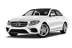 Stock pictures of low aggressive front three quarter view of 2016 Mercedes Benz E-Klasse Sportline 4 Door Sedan Low Aggressive