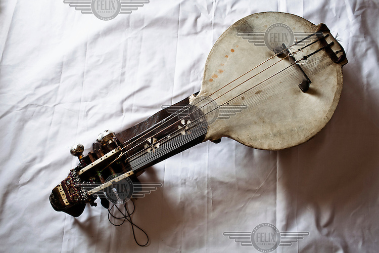 A Kamancha, a stringed instrument of Persian origins, played with a bow. It is played by Manganiyar musicians and throughout Asia.