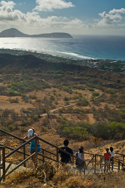 Tourists hiking to the top of Diamond Head Crater Park, Oahu, Hawaii
