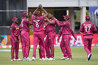The West Indies celebrate with Oshane Thomas (West Indies) the wicket of Ross Taylor during West Indies vs New Zealand, ICC World Cup Warm-Up Match Cricket at the Bristol County Ground on 28th May 2019